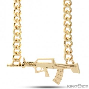 Gold Plated AK-47 Rifle Chain Necklace