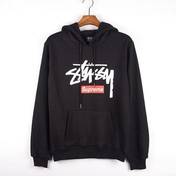 CREYV9O Stussy Casual Hoodie Long Sleeve Drawstring Top Sweater Sweatshirt