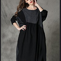 Women's Black Cotton Linen Dress Long Sleeve Casual Loose Fitting Plus Size Autumn Spring