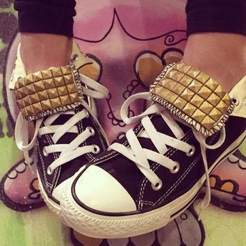 custom gold studded black converse high tops chuck taylors all sizes colors