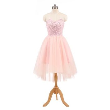 Lover Kiss vestidos de formatura 2018 Strapless Pearls High Low Prom Dresses Pink Juniors Tulle Ball Party Homecoming Gown Short