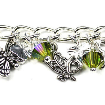 Silver Plated Bracelet with Pewter Papillion Butterfly Charms and Olivine Green Swarovski Crystals
