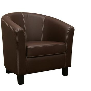 Baxton Studio Elijah Dark Brown Faux Leather Modern Club Chair Set of 1