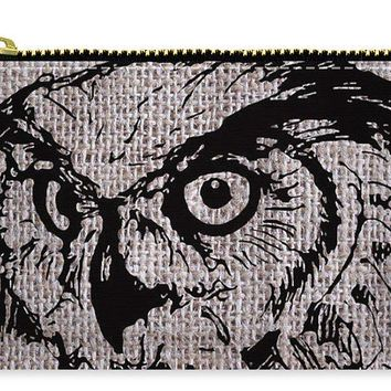 Owl On Burlap - Carry-All Pouch