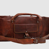 Leather Duffle bag (20 Inch Vintage Style Handmade) / Sport/ Gym Utility Bag/Cabin Handbag / Picnic/ Travel Bag