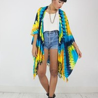 New Handcrafted Kimono In Blue and Yellow Tie Dye print from House of Jam
