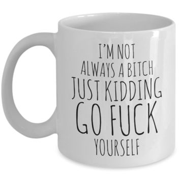 I'm Not Always a Bitch Just Kidding Go Fuck Yourself Coffee Mug Funny Ceramic Coffee Cup