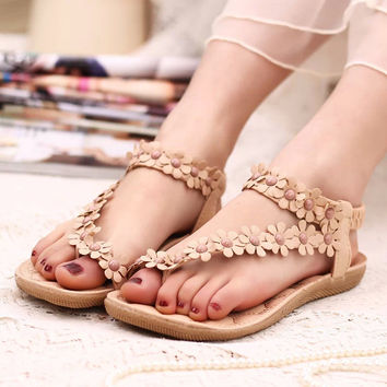Women shoes flat sandals comfort sandals women Summer Classic beading 2016 fashion Summer high quality flower sandals  BAOK-a5e1