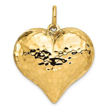 14k Yellow Gold Hollow Hammered Puffed Heart Pendant, 28mm