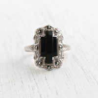 Antique Art Deco Sterling Silver Ring - Vintage Marcasite & Onyx Black Stone 1930s Size 8 Jewelry / Dark Shield Ring