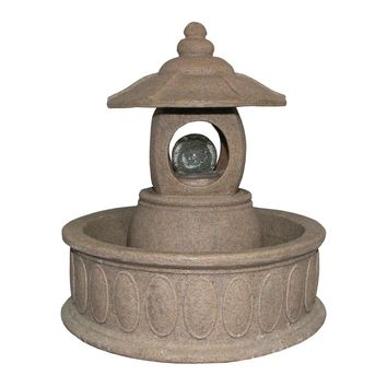 """25.5"""" LED Lighted Asian Inspired Pagoda Spring Outdoor Garden Water Fountain"""