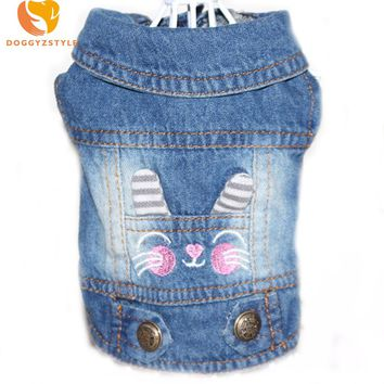 2017 Denim Pet Dog Clothes Vest Embroidered Cowboy Pet Puppy Dog Cat Jacket Dog Clothes XS-XXL