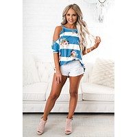From Now On Striped Floral Tunic (Blue)