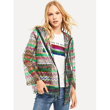 Zip Up Hoodie Colorful Chevron Print Coat