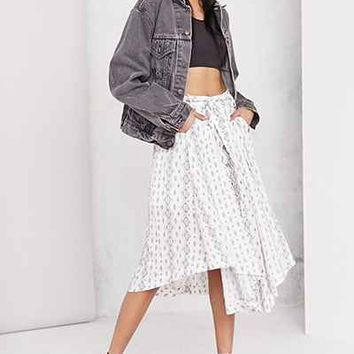 Moon River Printed Tie-Waist Midi Skirt - Urban Outfitters