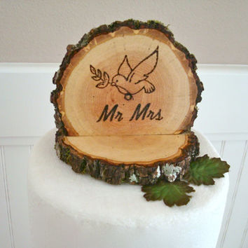 Rustic Wood Cake Topper Wedding Love Bird Dove Mr Mrs Wooden Slice