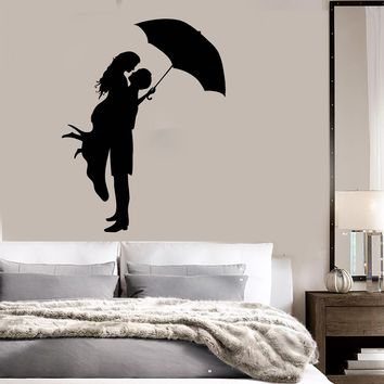 Vinyl Decal Wall Stickers Kissing Couple With Umbrella Romantic Love Unique Gift (z1611)