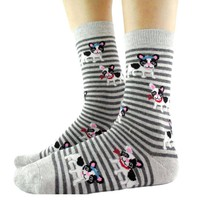 French Bulldog Puppy Print Animal Themed Socks with Grey Stripes | DOTOLY