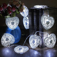 10LED Heart Shaped Christmas String Light Festival Halloween Party Wedding Decor Indoor/Outdoor Warm White Fairy Light Metal