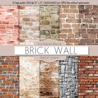 Brick Texture Digital Scrapbooking Paper Pack, brick digital paper, digital vintage brick wall