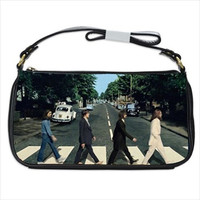 The Beatles Abbey Road Black Calfskin Leather Shoulder Strap Clutch Bag Purse Tote Handbag Custom Made 41219384