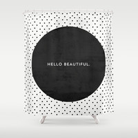 BLACK HELLO BEAUTIFUL - POLKA DOTS Shower Curtain by Allyson Johnson