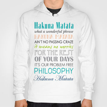 Hakuna Matata Lion King Lyics Artwork - Bright Colors Hoody by Jaydot Creative