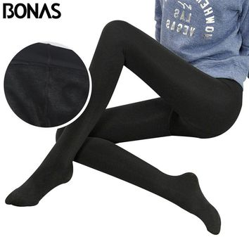 BONAS Super Elastic Velvet Pantyhose Tights Women Autumn Winter Warm Tights Female Thin Velvet Collant Stretchy Pantyhose