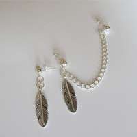 Feather Charm Silver Chain Cartilage Earrings by RazzleDazzleMe