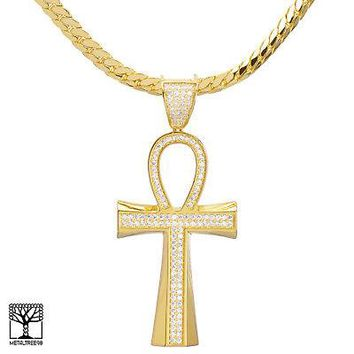 "Jewelry Kay style Men's 14K Gold Plated Iced Ankh Cross Pendant 24"" Miami Cuban Chain BCH 12863 G"