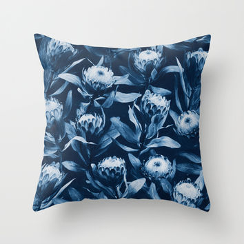 Evening Proteas - Denim Blue Throw Pillow by Micklyn