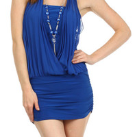 Pleated Halter Mini Dress - Blue