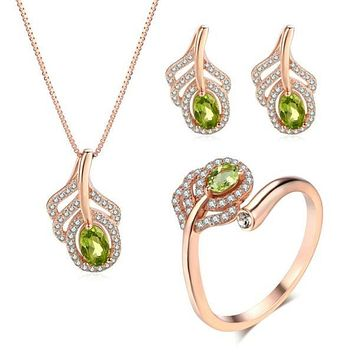 MOBUY Women's Fine Fashion Green Feather Genuine Peridot Gemstone 3PCS Jewelry Set