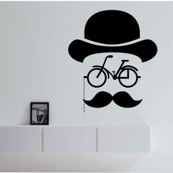Hipster Bicycle Mustache Geometric  Vinyl Wall Decal Sticker Art Decor Bedroom Design Mural interior design hat