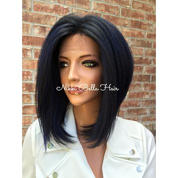 """Blue Short Bob Swiss 4x4 Human Hair Blend Multi Parting Lace Front wig 10"""""""
