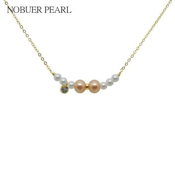 Nobuer real  pearl Chain Necklace 40CM Long 14K Gold Pendants Good Quality For Women Choker Jewelry For Female