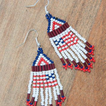 Tribal Beaded American Flag Earrings / Patriotic Native American Beaded Earrings / Americana Red white blue peyote bohemian earrings