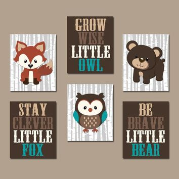 WOODLAND Nursery Wall Art, Woodland Nursery Decor, Forest Animals Wall Decor Forest Friends Owl Fox Bear Quotes Canvas or Print Set of 6 Art