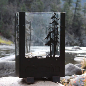 Free Shipping, Table Top Lantern Fireplace, Portable Fireplace, Matt Black Decor, Candle Lantern, Tabletop Fireplace, Fire Pit, Candle Lamp