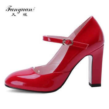 Fanyuan Size 33-42 Women Mary Jane Classic Shoes Vintage Thick High Heels Square Toe P