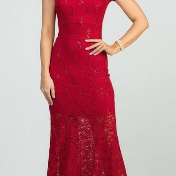 Cut-Out Back Short Sleeved Long Formal Dress Red