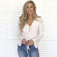 Enticing Knit Button Up Blouse In Ivory