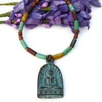 Shakyamuni Buddha Necklace, Rustic Green Verdigris Pendant Handmade Yoga Jewelry for Women