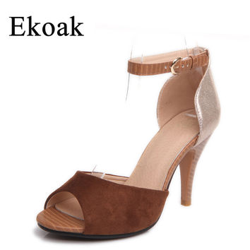 Ekoak Size 35-43 New 2016 fashion women sandals Sexy peep toe Super high heels party dress shoes woman summer sandals