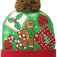 Generic Men's Ugly Christmas Sweater Cuff Pom Beanie, Green, One Size