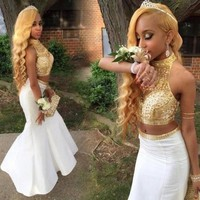 2017 Gorgeous Two Pieces Mermaid Prom Dresses Beaded Crystal Gold Crystal Long Evening Dresses robe de soiree