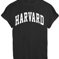 HARVARD MEN WOMEN UNISEX TEE TOP T Shirt - BLACK