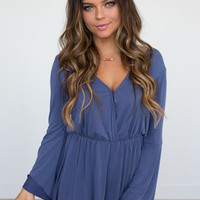 Solid Long Sleeve Romper - Indigo