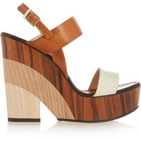 Jimmy Choo - Notion leather and wood wedge sandals