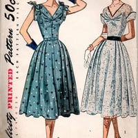1950s Simplicity 8397 Vintage Sewing Pattern Tea Garden Party Dress Full Skirt V Neckline Gathered Bodice Bust 34